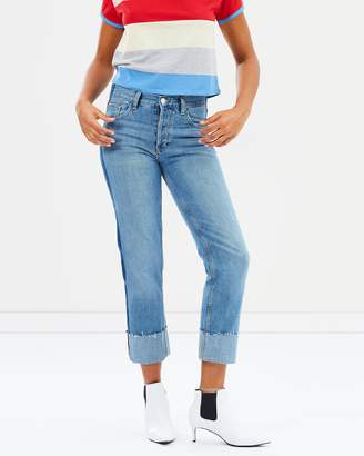 Mng Turn-Up Hem Straight Jeans