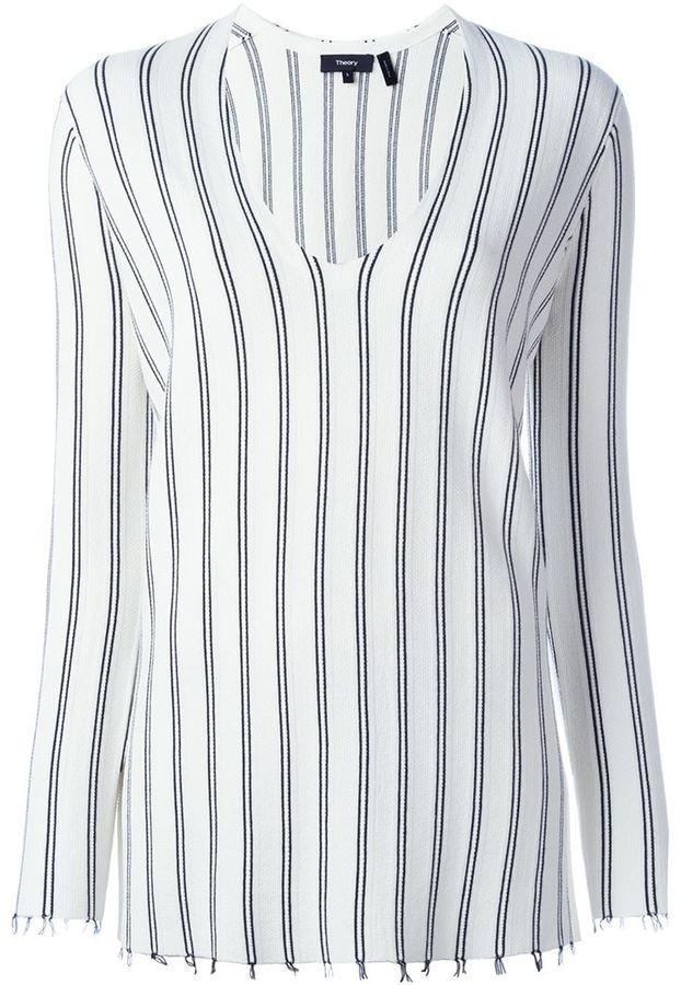 TheoryTheory striped v-neck sweater