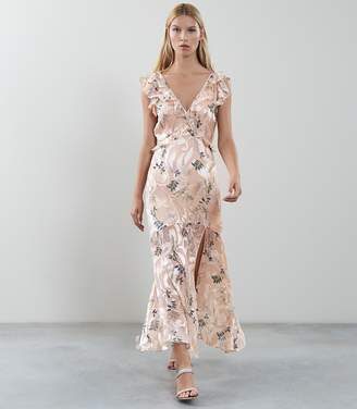 Reiss Almeria - Botanical Burnout Print Maxi Dress in Apricot