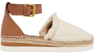 See by Chloé - Fringed Canvas And Leather Espadrilles - Tan $175 thestylecure.com