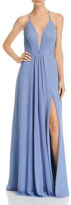 Aqua Lace-Up Chiffon Gown - 100% Exclusive
