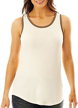 JCPenney a.n.a® Metallic-Trim Tank Top