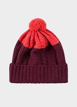 2ebc5f0ca91 Men s Burgundy Cable-Knit Wool Beanie Hat