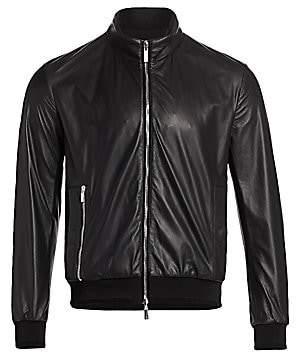 Giorgio Armani Men's Reversible Leather Zip Blouson