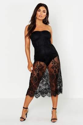 boohoo Lace Strapless Midi Dress