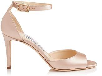 Jimmy Choo ANNIE 85 Dusty Rose Satin Peep Toe Sandals