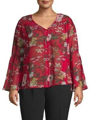 0ec91b4a02979b Lord   Taylor Design Lab Plus Bell-Sleeve Floral Top