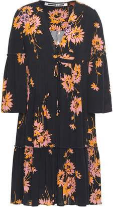 McQ Pintucked Crepe De Chine Dress