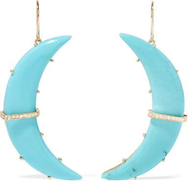 Andrea FohrmanAndrea Fohrman - Crescent Moon 18-karat Gold, Turquoise And Diamond Earrings - one size