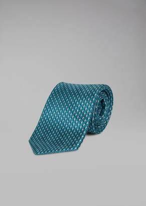 Giorgio Armani Silk Tie With Two-Colour Weave