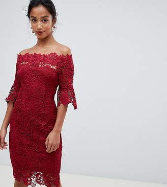 Paper Dolls Petite off shoulder crochet midi dress with frill sleeve in oxblood