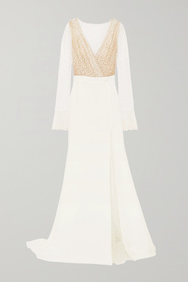 Rime Arodaky Joni Swiss-dot Tulle And Crepe Gown - White