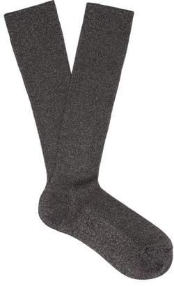 Raey Lurex Ribbed Socks - Womens - Grey