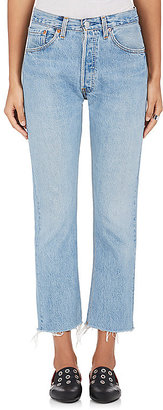 RE/DONE Women's The High Rise Cropped Jeans-BLUE $265 thestylecure.com
