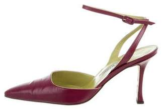 Manolo Blahnik Leather Ankle Strap Pumps
