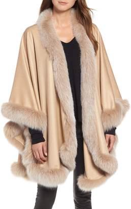 Sofia Cashmere Frosted Genuine Fox Fur Trim Cashmere Cape