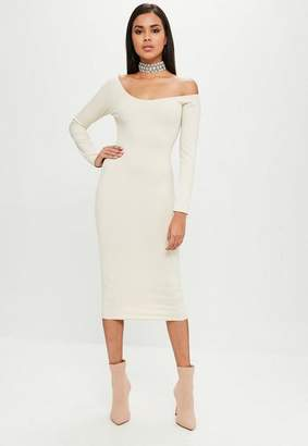Missguided Nude Long Sleeve Ribbed Dress, Cream