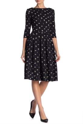 JET Animal Printed Boatneck Midi Dress