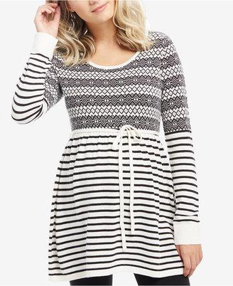 Motherhood Maternity Patterned Babydoll Sweater $39.98 thestylecure.com