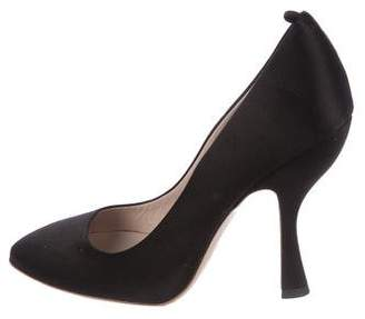 Miu Miu Satin Round-Toe Pumps