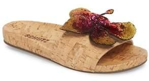 Schutz Geisa Sequin Flower Slide Sandal