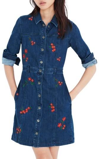 Women's Madewell Embroidered Denim A-Line Dress
