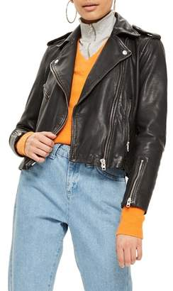 Topshop Strike Leather Biker Jacket