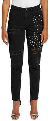Missguided High-Rise Embellished Distressed Jeans