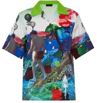 Prada Digitally Printed Short Sleeved Satin Shirt - Mens - Green