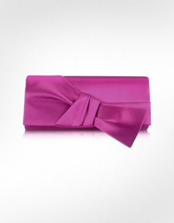 Rodo Front Bow Satin Evening Clutch