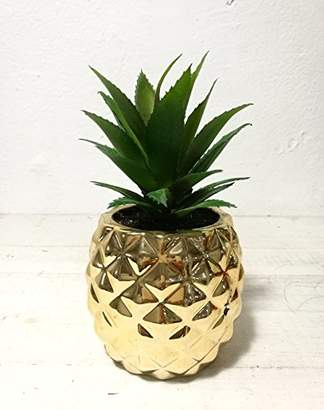 "Artificial Potted Succulent 7.8"" Pineapple Gold Home Tabletop Decoration"