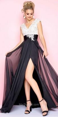 Mac Duggal Rhinestone Embellished Chiffon A-line Prom Dress $258 thestylecure.com