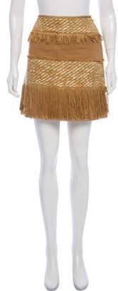 Alberta Ferretti Fringe-Trimmed Mini Skirt Tan Fringe-Trimmed Mini Skirt