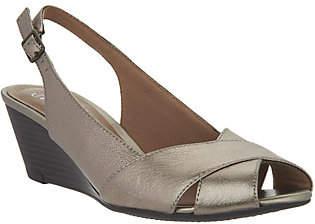 Clarks Leather Slingback Peep-toe Wedges -Brielle Kae