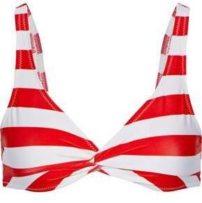 The Jane Twist-Front Striped Bikini Top