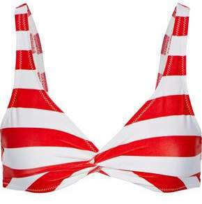 Solid & Striped The Jane Twist-Front Striped Bikini Top