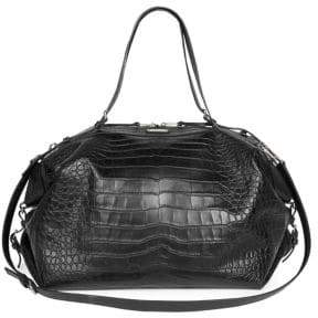 Saint Laurent Crocodile Embossed Leather Duffel Bag