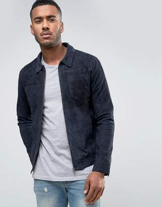 Jack and Jones Vintage Suede Jacket with Patch Pockets
