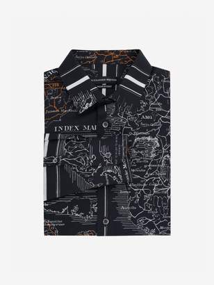 Alexander McQueen Small Map Print Poplin Shirt