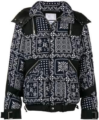 Sacai printed design hooded puffed jacket