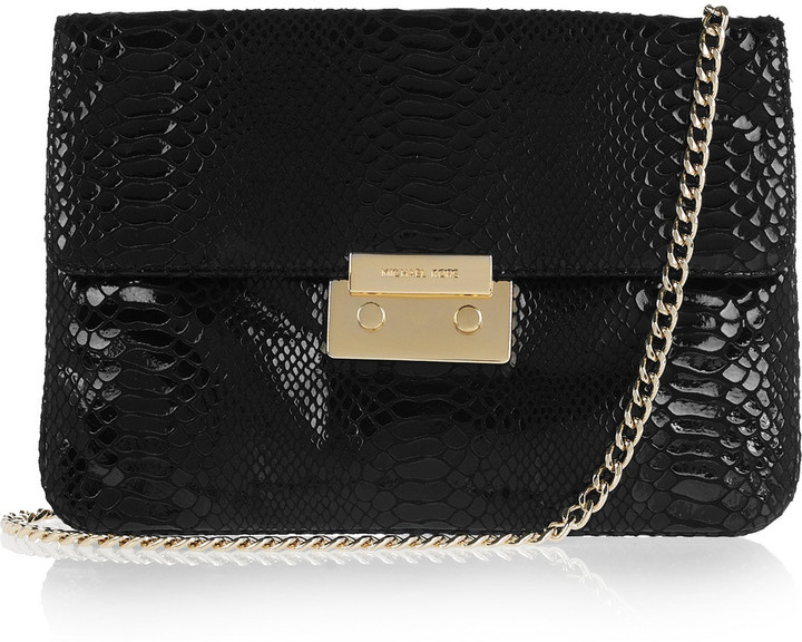MICHAEL Michael Kors Sloan python-effect patent-leather clutch