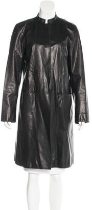 DKNY Single-Breasted Leather Coat $225 thestylecure.com