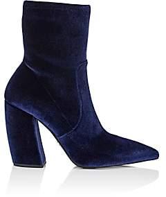 Prada Women's Velvet Ankle Boots-Bleu