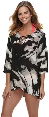 Apt. 9 Women's Brushstroke Lace-Up Cover-Up