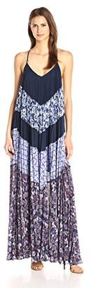 BCBGMAXAZRIA Azria Women's Juna Print Block Pleated Maxi Dress