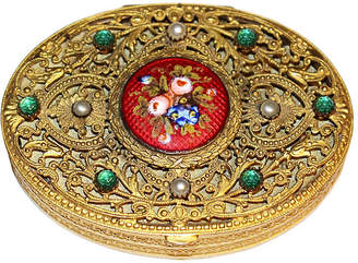 One Kings Lane Vintage 1920s French Jeweled Compact - Little Treasures