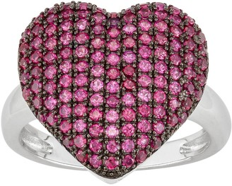 Sterling Silver Lab-Created Ruby Heart Ring