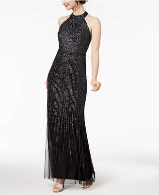 Adrianna Papell Sequined Halter Mermaid Gown