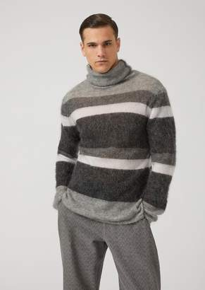 Emporio Armani Sheared Mohair Wool Blend Sweater With Striped Design