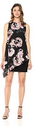 SL Fashions Women's Sleeveless Printed Asymmetric Chiffon Overlay Dress